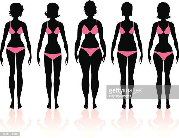 women's body types group 3 - bra stock illustrations, clip art, cartoons, & icons