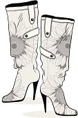 Womens boots with monochrome flower pattern - vektor drawing