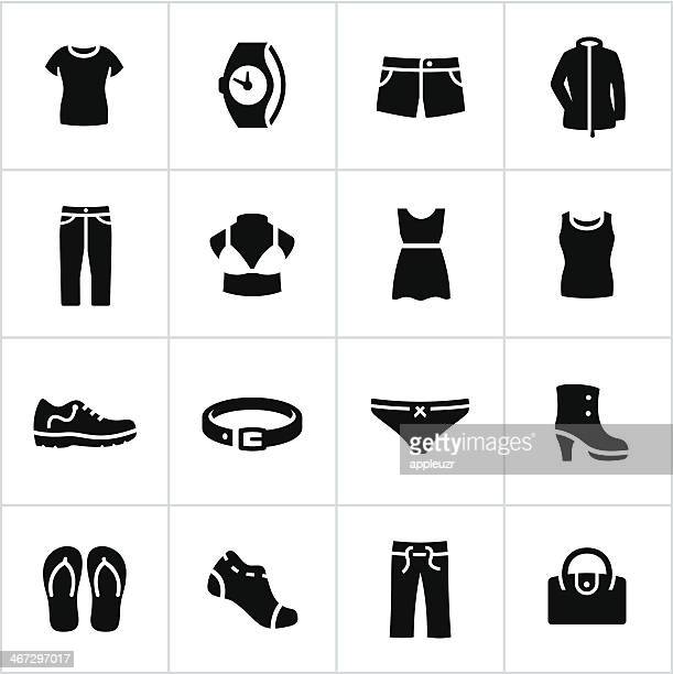 womens casual wear icons - underwear stock illustrations, clip art, cartoons, & icons