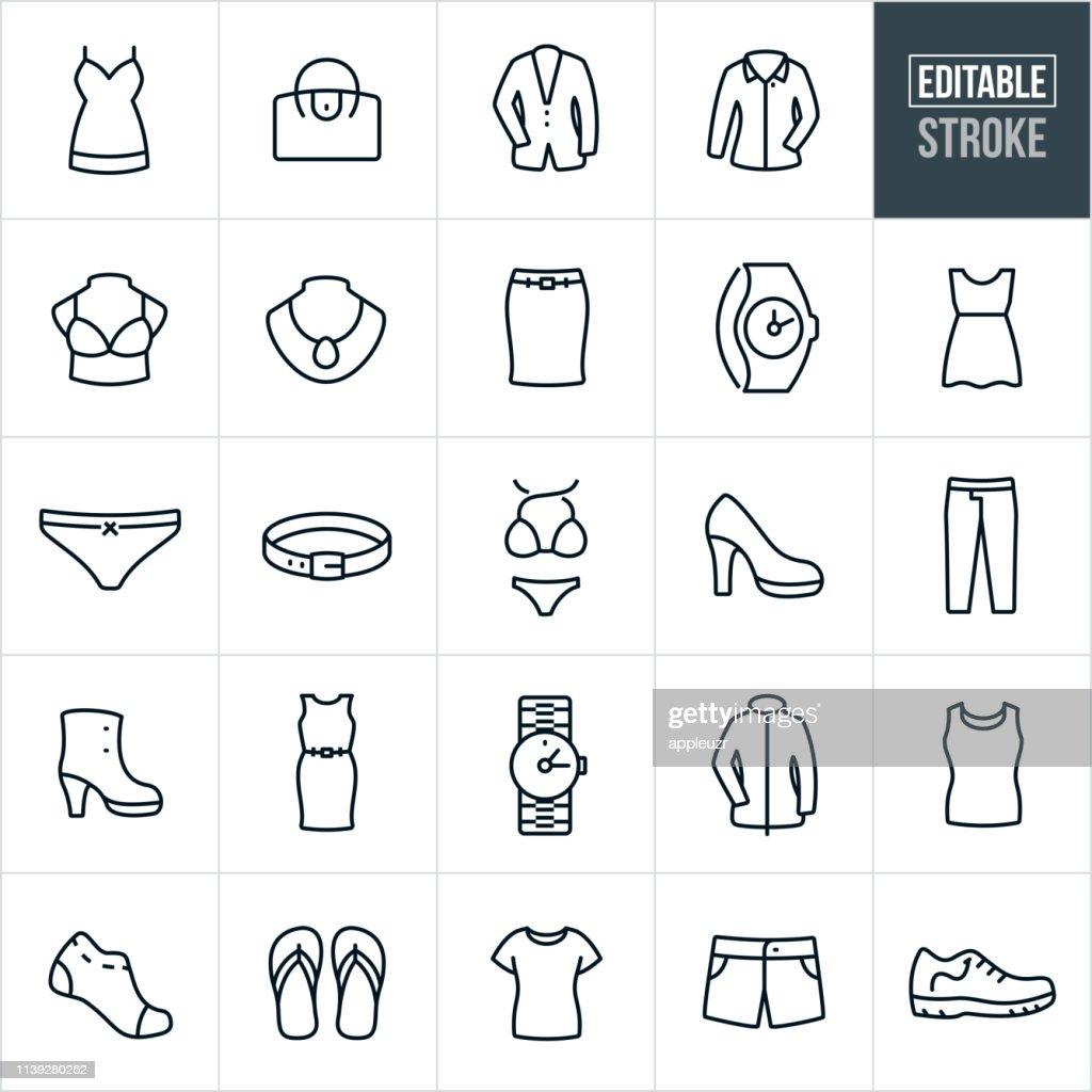 Women's Clothing Thin Line Icons - Editable Stroke : Stock Illustration