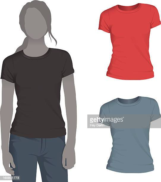 Women's Crewneck T-Shirt Mockup Template