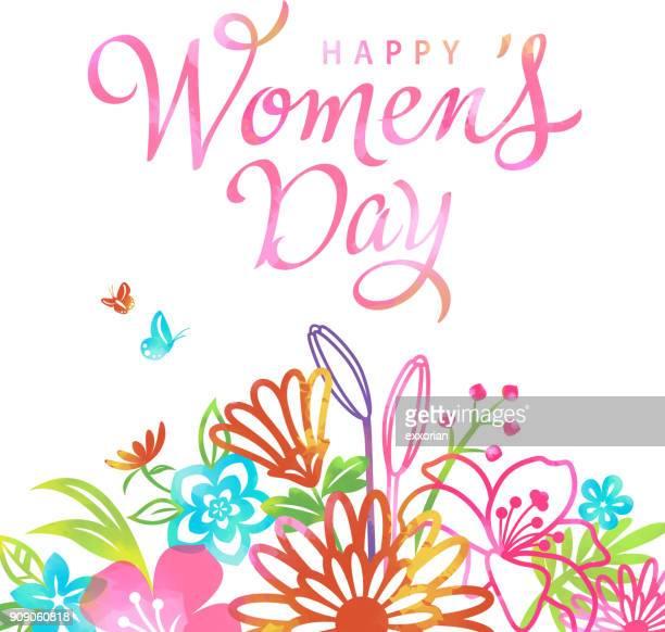 ilustrações de stock, clip art, desenhos animados e ícones de women's day blossom - dia internacional da mulher