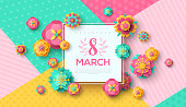 Women's Day card with square frame