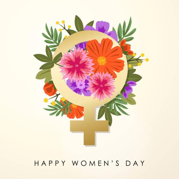 women's day gender symbol & bouquet - femininity stock illustrations