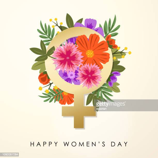 women's day gender symbol & bouquet - women's rights stock illustrations