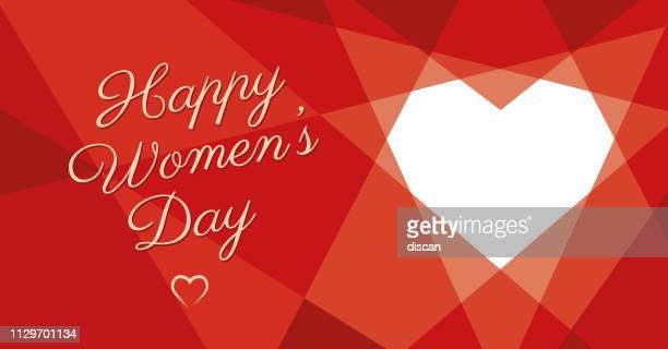 ilustrações de stock, clip art, desenhos animados e ícones de women's day geometric heart - dia internacional da mulher