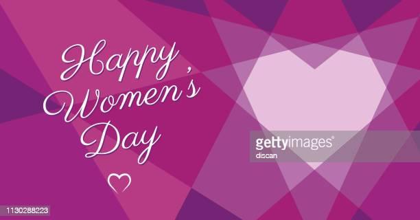 stockillustraties, clipart, cartoons en iconen met vrouwen dag geometrische hart - internationale vrouwendag