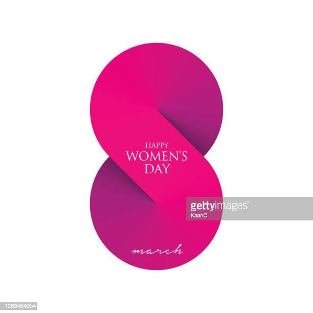 women's day greeting card stock illustration. 8 march day of women - number 8 stock illustrations