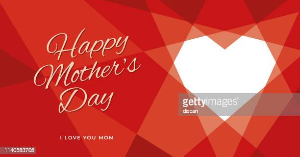 women's day greeting card with geometric heart. - mothers day stock illustrations