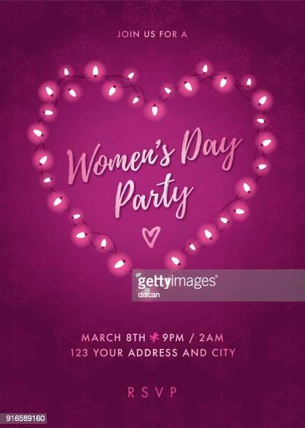 stockillustraties, clipart, cartoons en iconen met women's day party uitnodiging met lichten hart. - internationale vrouwendag
