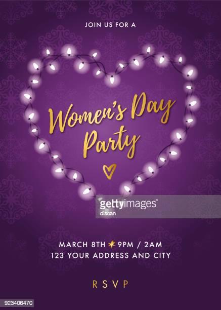 ilustraciones, imágenes clip art, dibujos animados e iconos de stock de invitación de fiesta del día de la mujer con corazón de luces - feliz dia de la mujer