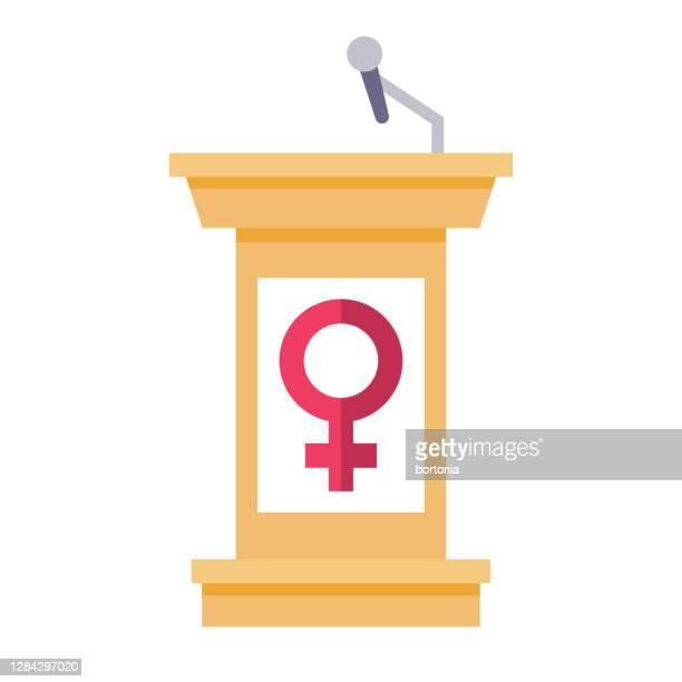women's debate podium icon on transparent background - activist icon stock illustrations