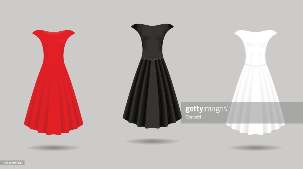 de19200249515b Women's dress mockup collection. Dress with long pleated skirt. Realistic vector  illustration - stock vector