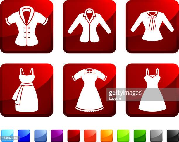 Women's Dresses and Tops royalty free vector icon set stickers