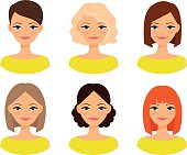 Womens faces with different hairstyles