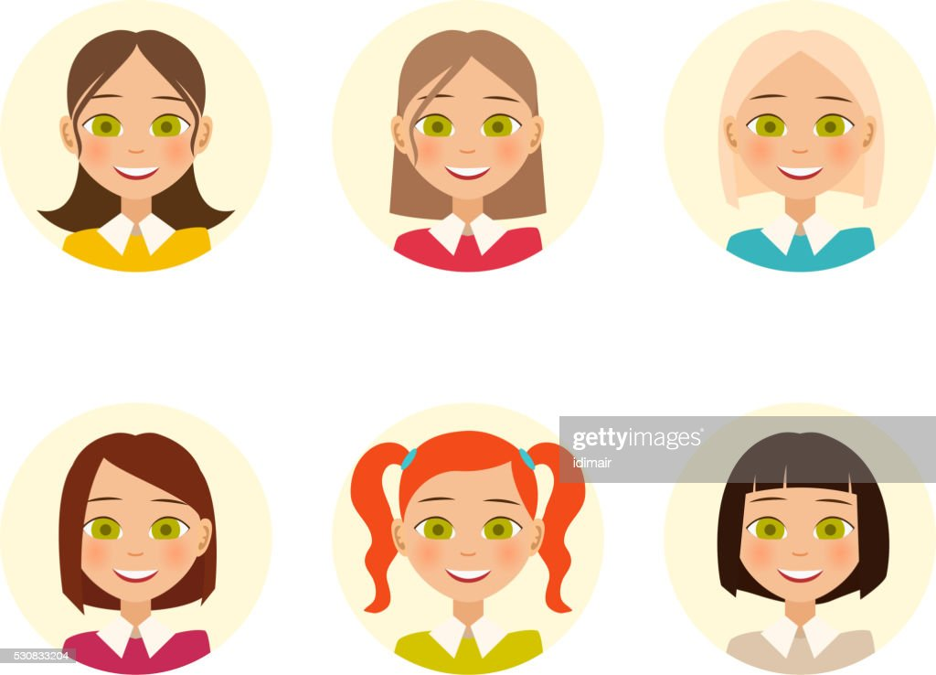 Womens faces. Woman with different hair color and different hairstyles