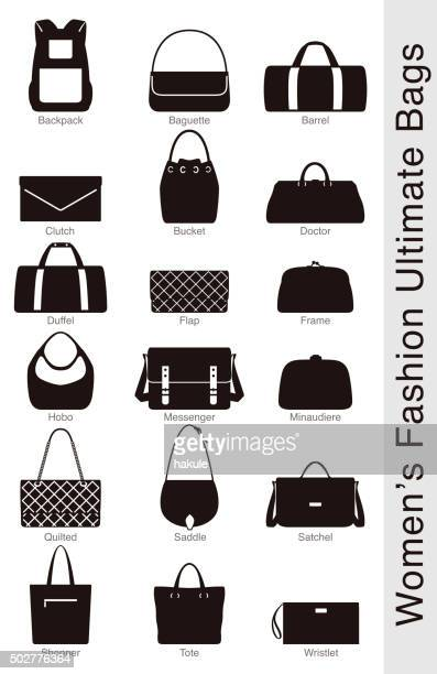 women's fashion ultimate bags, vector - clutch bag stock illustrations