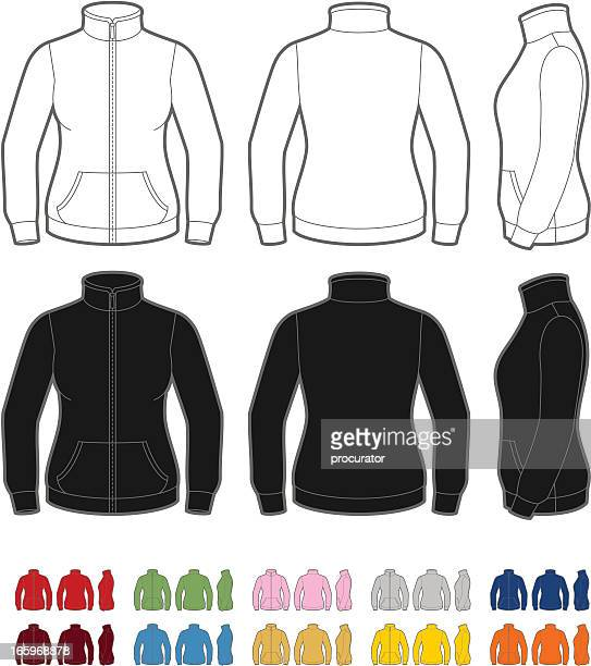 women's fleece jacket - sweater stock illustrations, clip art, cartoons, & icons