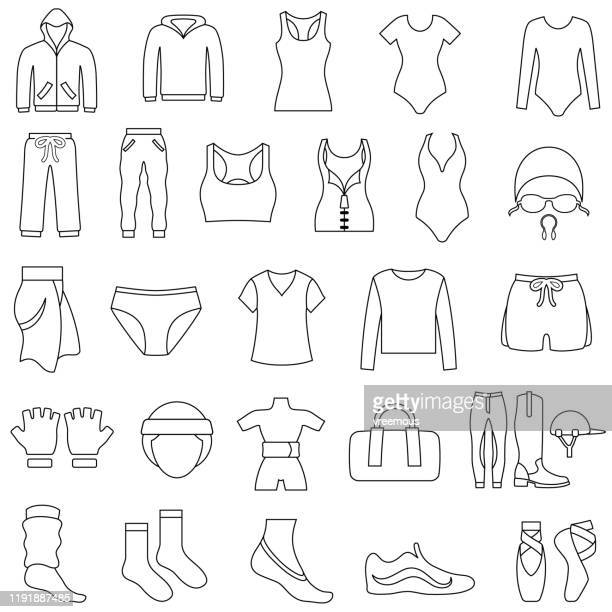 women's gym and sportswear clothing outline icons - en búsqueda stock illustrations