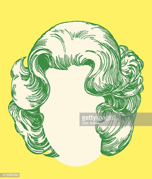 women's hairstyle - wig stock illustrations