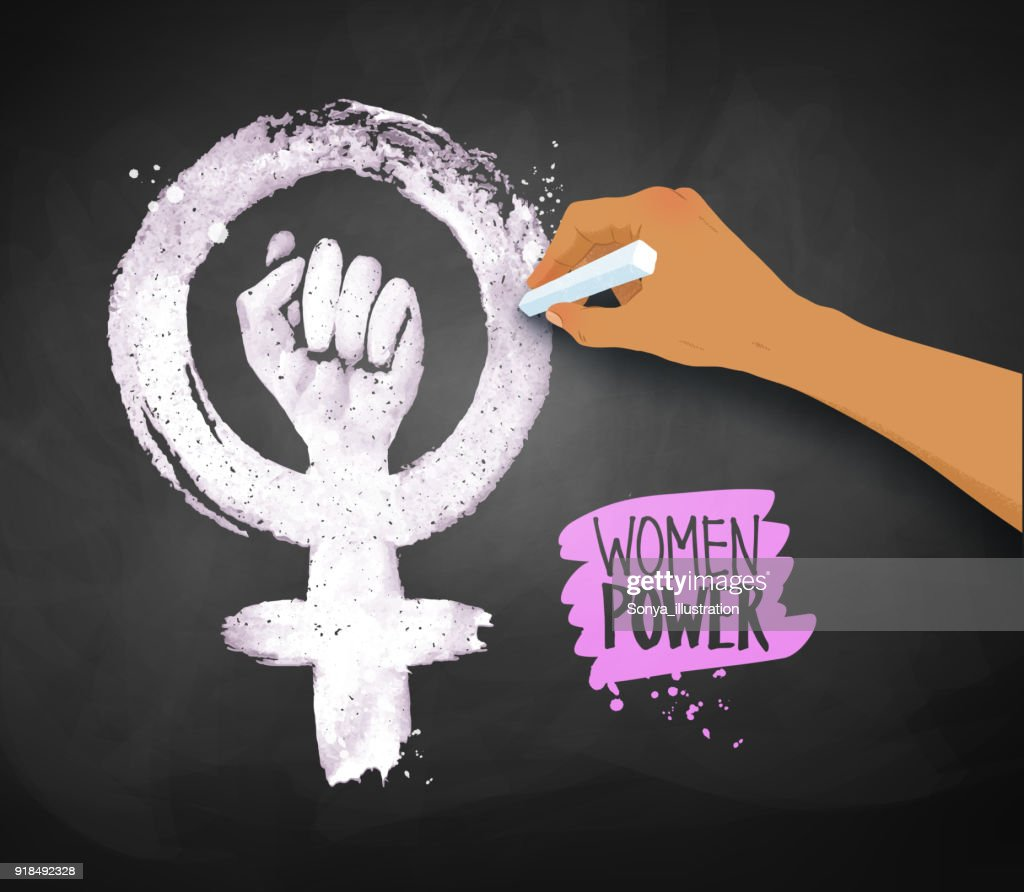 Women's hand drawing Feminism protest symbol