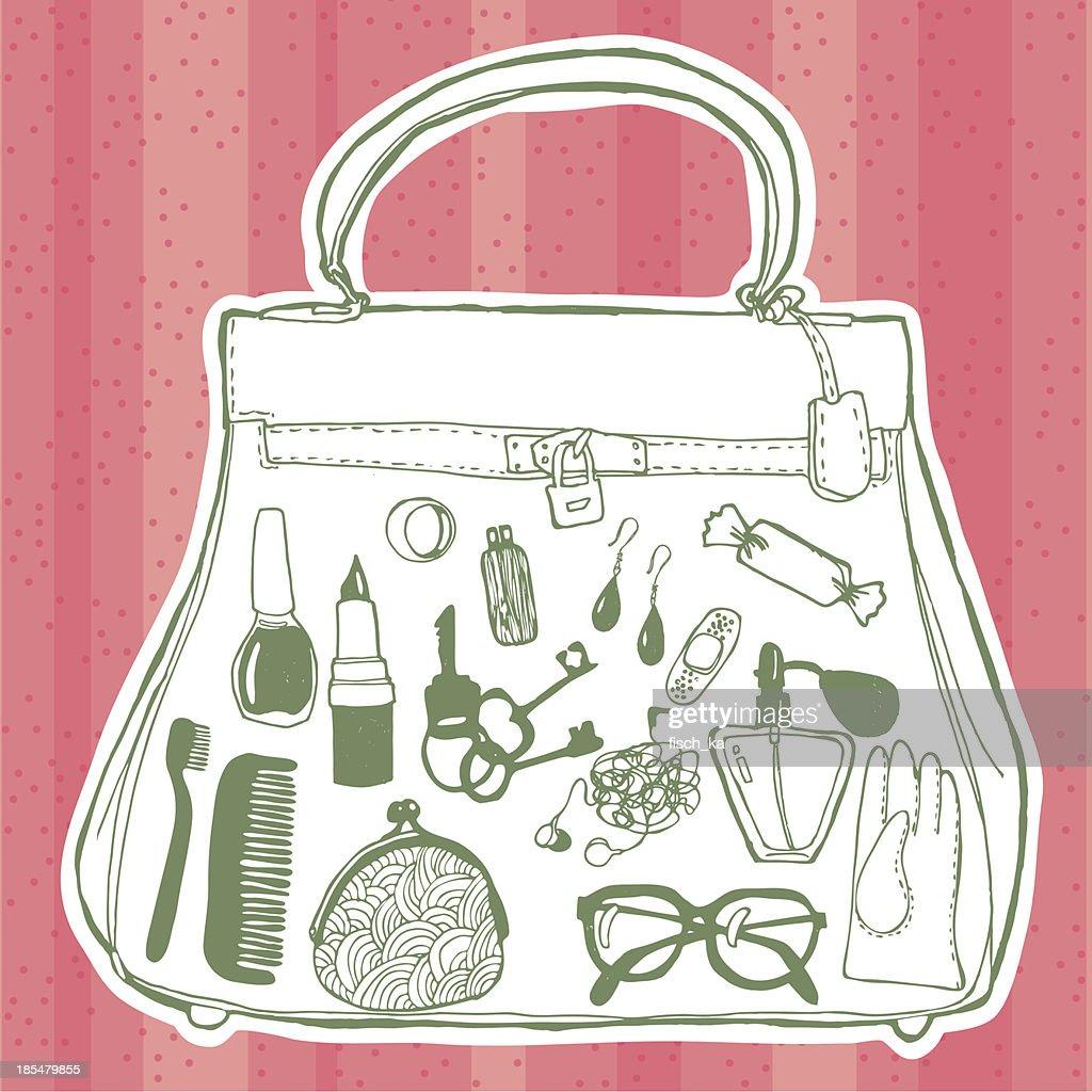 Women's handbag and its contents