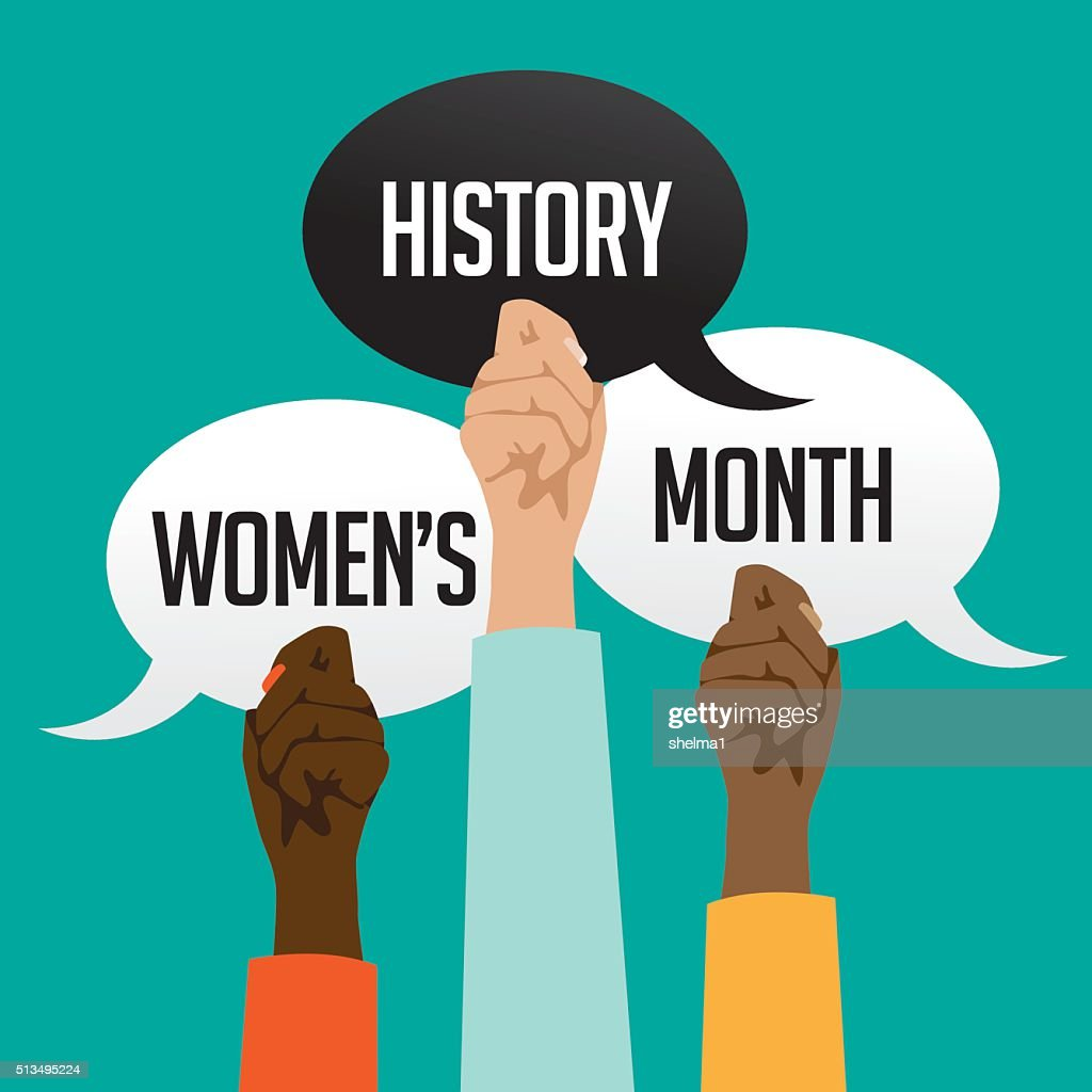 Women's history month design with multicultural hands