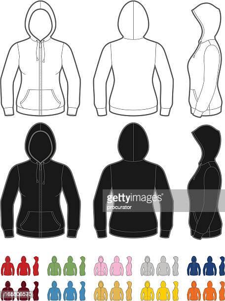 ilustrações de stock, clip art, desenhos animados e ícones de camisola com capuz para mulher - casaco com capuz