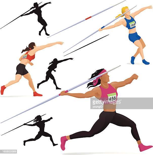 ilustrações de stock, clip art, desenhos animados e ícones de mulher lançamento do dardo - atletismo
