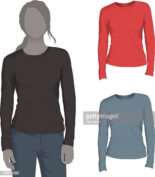 Women's Long Sleeve T-Shirt Mockup Template