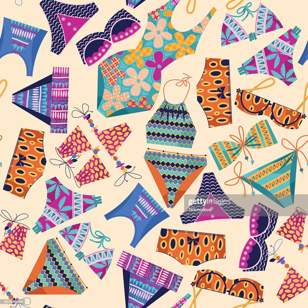 Women's multi-colored swimsuits. Bathing suit various models. Background pattern.