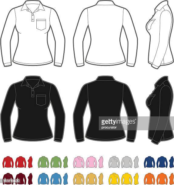 Women's polo shirt with long sleeve