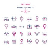 Womens right color icon set