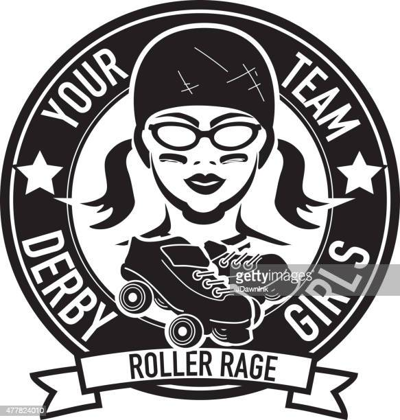 Women's roller derby league badge or label design with skates