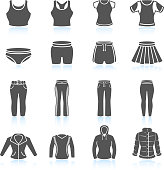 Women's sport clothing and outfits black & white icon set