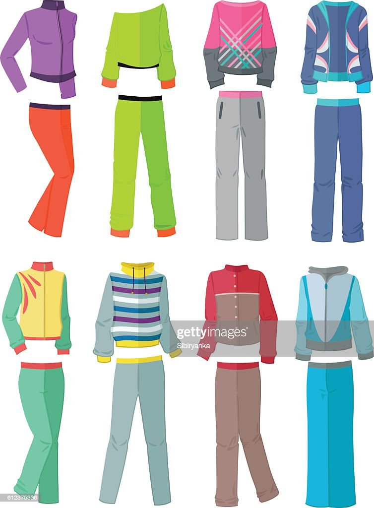 Women's tracksuits in flat design