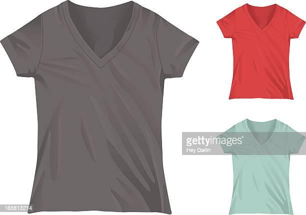 女性 mockup テンプレートの v ネック t シャツ - vネック点のイラスト素材/クリップアート素材/マンガ素材/アイコン素材