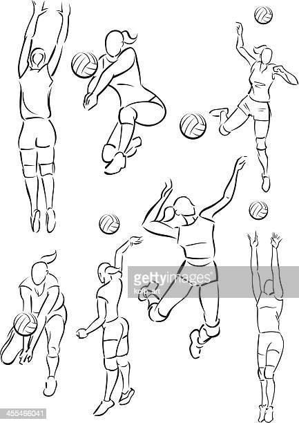 illustrazioni stock, clip art, cartoni animati e icone di tendenza di di pallavolo femminile - pallone da pallavolo