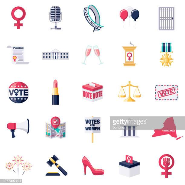 women's vote icon set - activist icon stock illustrations