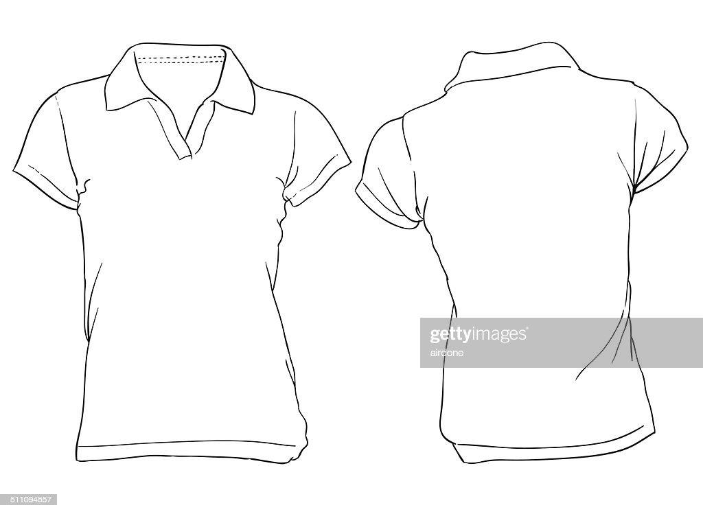 Women's White Polo Shirt Template