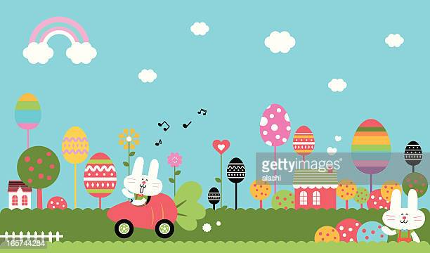 wonderful easter bunny world - easter bunny stock illustrations