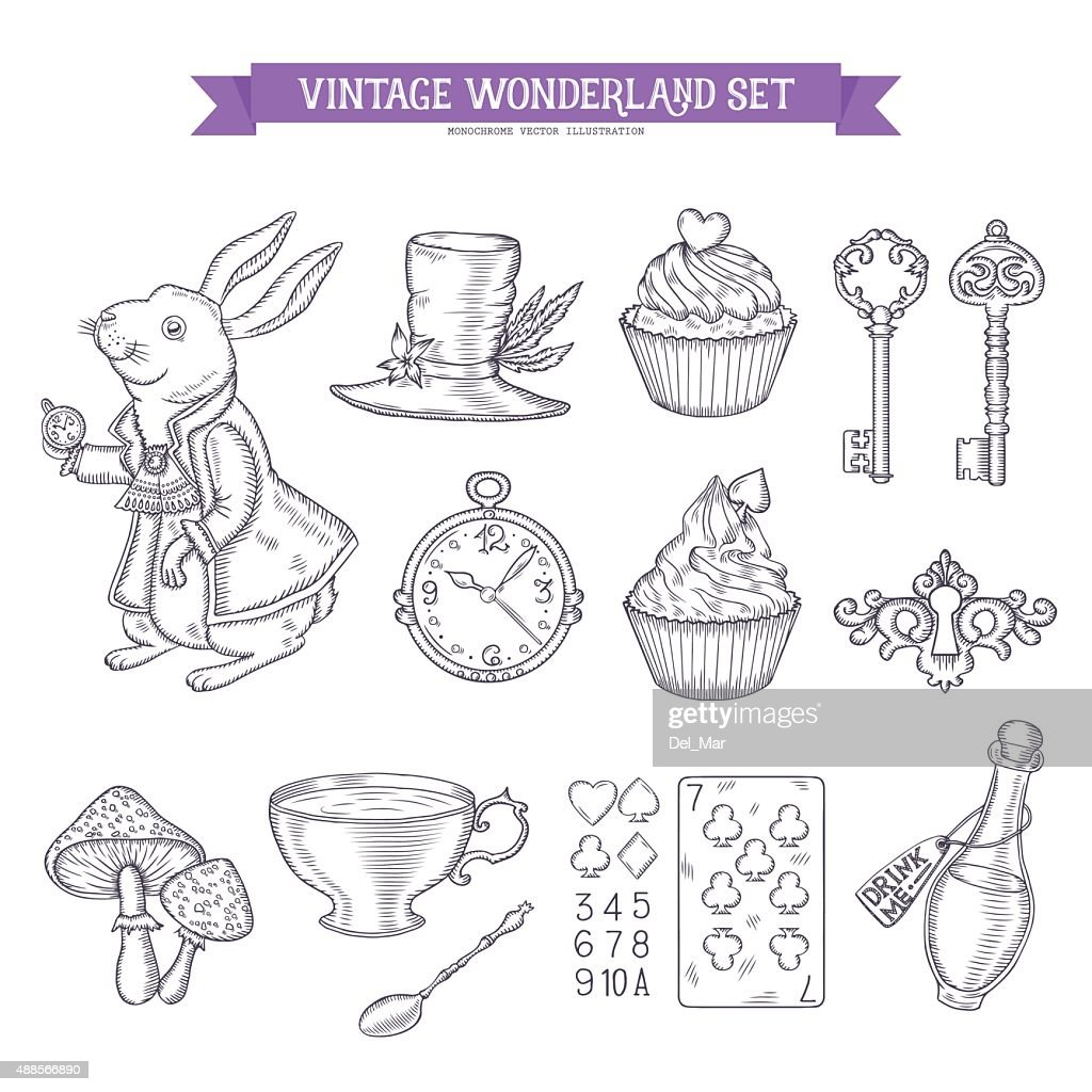 Wonderland hand drawn set of design elements.