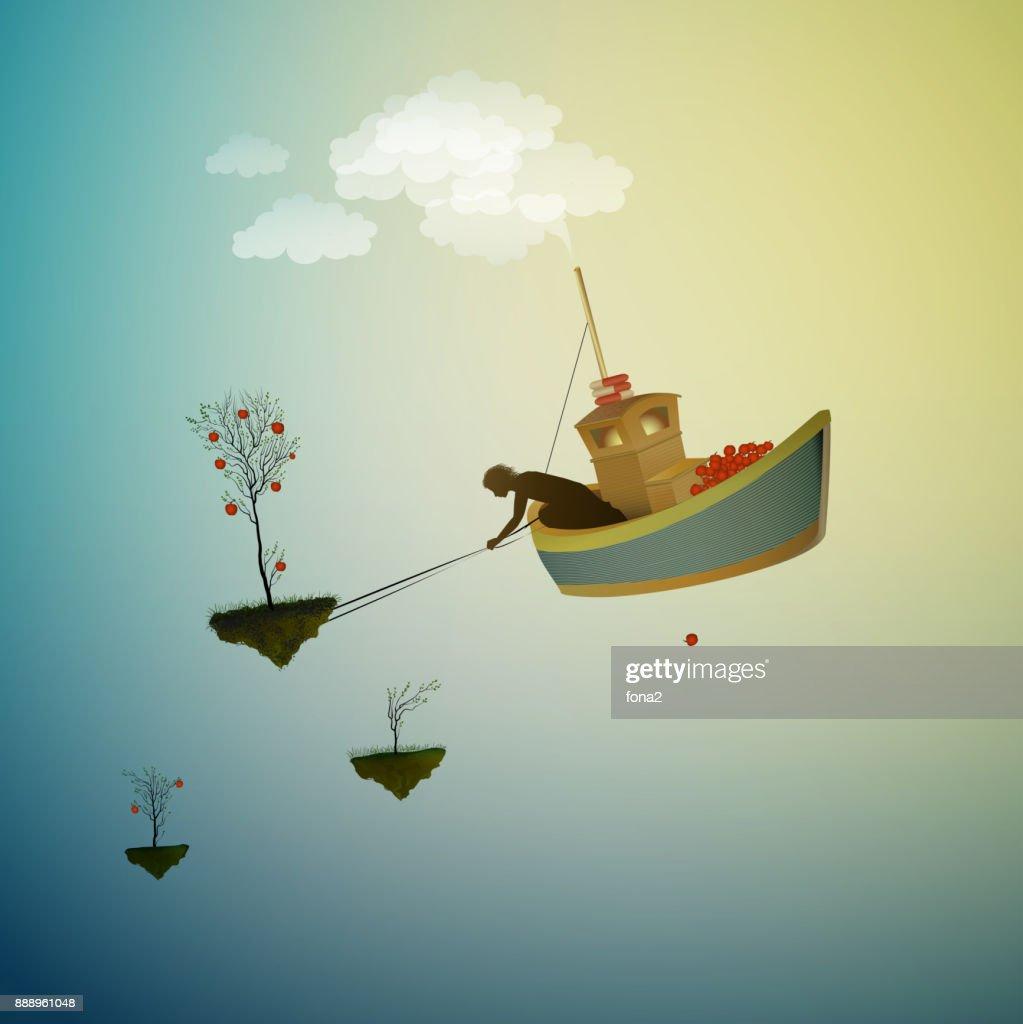 wonderland harvest, time to harvest the magic apple, magic ship in the dreamland, scene from wonderland,