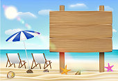 wood board sign on sea sand beach with relax chair