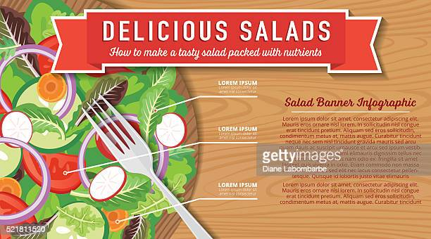 Wood Bowl Of Salad On A Wood Background Infographic