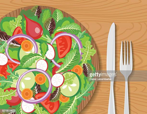wood bowl of salad on a wood table - healthy eating stock illustrations