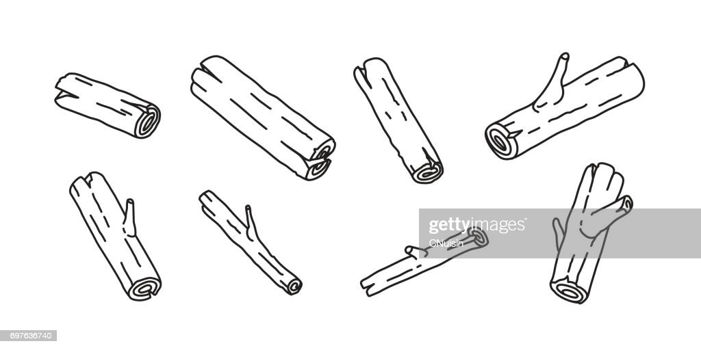 Wood branch firewood doodle illustration vector cartoon