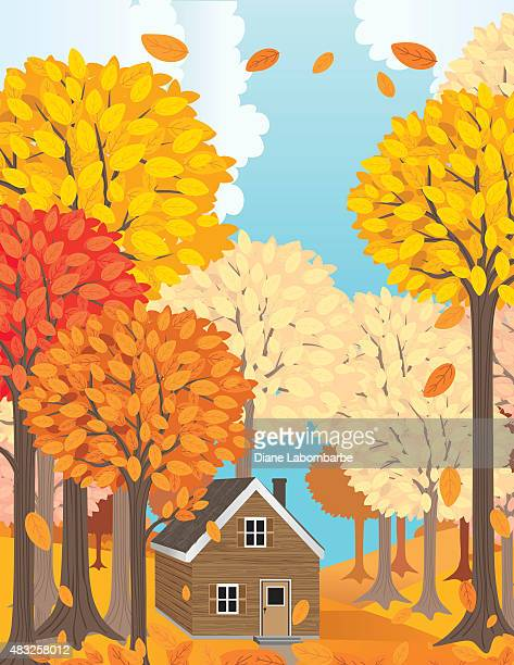 wood cabin in a big forest in autumn. - tall high stock illustrations