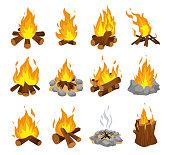 Wood campfire set, travel and adventure symbol