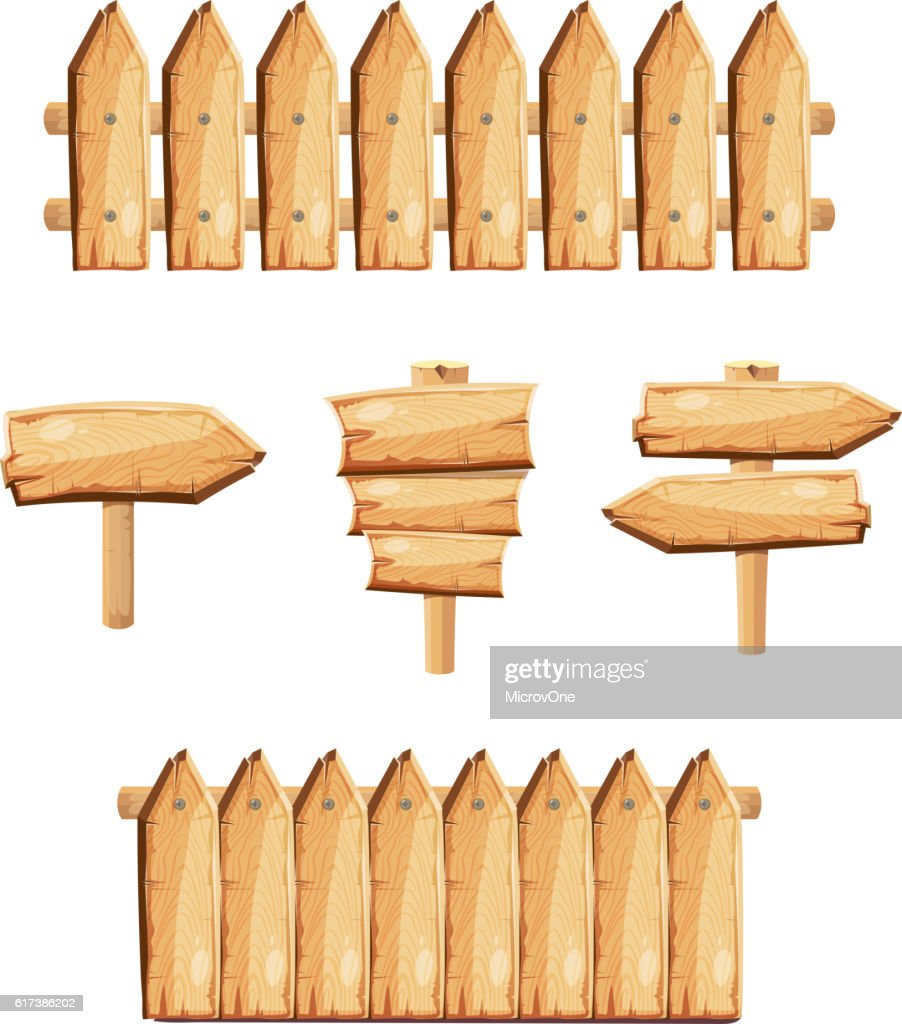 Wood garden fences and wooden signs stock vector